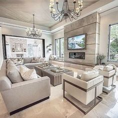 Luxury living room design - Spectacular Contemporary Living Room Interior Designs Ideas To Try – Luxury living room design Glam Living Room, Elegant Living Room, Living Room Interior, Home Interior Design, Contemporary Living Room Decor Ideas, Luxury Living Rooms, Contemporary Interior, Luxury Interior, Tv Wall Ideas Living Room