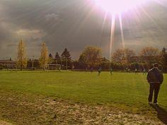 A football match after the rain.