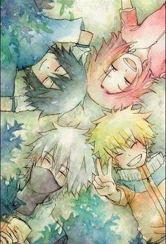 Team 7 of Naruto: Kakashi, Sasuke, Sakura and Naruto. I cant be the only one who likes original naruto better than shippuden