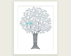 Personalized - Silver 25th Anniversary Gift Heart Tree - Art Print Monogram Name Date - Engagement Shower Wedding on Etsy, $18.00