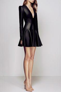 Nicolette Black Leather Dress