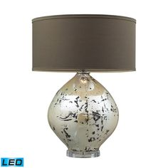 Limerick Ceramic LED Table Lamp In Turrit Gloss Beige With Brown Linen Shade D2262-LED