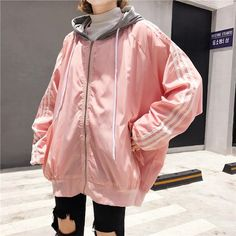Itgirl shop rain protective sportish lines hood pink black jacket aesthetic apparel, K Fashion, Estilo Fashion, Ulzzang Fashion, Japan Fashion, Trendy Fashion, Fashion Outfits, Fashion Ideas, Trendy Style, Korea Fashion