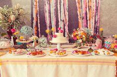 ribbon backdrop dessert bar Photos by Natalie Shelton.