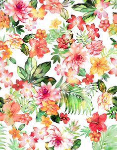 Floral print with leaves