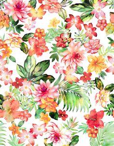 flower, pattern, tropical, color, art,