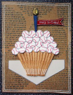 ...baseball rubber stamps. Birthday Baseball Cupcake Card