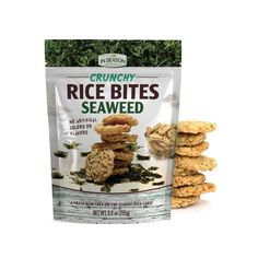 Mini rice cakes with seaweed flakes without artificial colors or flavors. In a resealable stand-up pouch. Classic Rice, Yeast Extract, Cooking Instructions, Rice Cakes, Dried Fruit, Serving Size, Seaweed, Dog Food Recipes, Nutrition