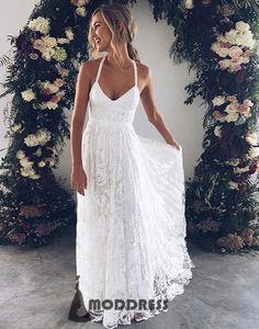 Lace Long Prom Dress White V-Neck Evening Dress Halter A-Line Formal Dresses