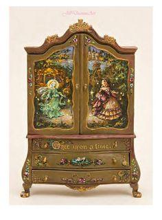 Cinderella, Sweet Dreams or  Finding Fairies Baby Dollhouse Cupboard - Roses, Fairy, Rabbit, Toys, Butterfly, Castle - Dollhouse Miniatures