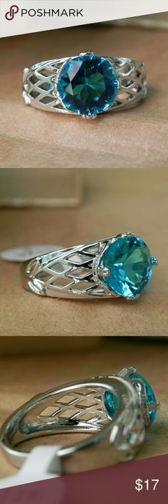 Tourmaline Indicolite Light Blue Ring 925 Sterling silver metal type, prong setting, Tourmaline Indicolite stone, classic round cut, light blue stone color, pure clarity, beautiful open gallery, sizes available 6 - 7 - 8. NWT!!     Any other question contact me before purchasing. Jewelry Rings