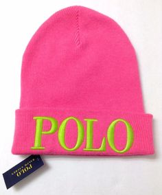 NWT 48 Women (or Men) POLO RALPH LAUREN BEANIE Cuffed Winter Knit Hat PINK e7818bb8b91b