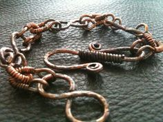 Chunky hand forged metal wire wrapped antiqued copper bracelet by BLLstudio,
