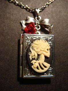 Steampunk Necklace Skeleton Goddess Cameo Locket by ClockworkAlley, $22.00