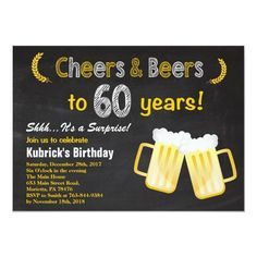 """Surprise Cheers and Beers Birthday Invitation. Beer Birthday for men. Chalkboard Black and White Background. For further customization, please click the """"Customize it"""" button and use our design tool to modify this template. Birthday Cheers, Adult Birthday Party, 30th Birthday Parties, 20th Birthday, Surprise Birthday, Diy Birthday, Husband Birthday, 30th Birthday Ideas For Men Surprise, Birthday Cards"""