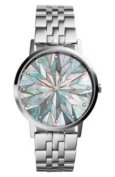 Free shipping and returns on Fossil 'Vintage Muse' Bracelet Watch,40mm at http://Nordstrom.com. Tiny crystals and acolorfulmosaicdesign mark the mother-of-pearl dial of a vintage-inspired bracelet watch styled with a clean, timeless silhouette.