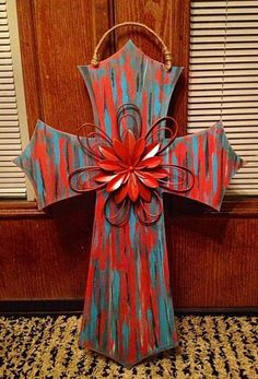 DIY painted cross door hanger