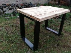 Wood industry table, iron legs