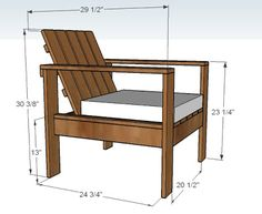 Lounge chair diy - making wooden chairs for outside Ana White Build a Simple Outdoor Lounge Chair Free and Easy DIY Modern Outdoor Chairs, Outdoor Furniture Plans, Outside Furniture, Pallet Furniture, Furniture Design, Rustic Furniture, Furniture Ideas, White Furniture, Garden Furniture