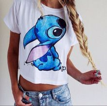 Ropa Mujer mode 2015 Sexy Summer Style femmes blanc à manches courtes t-shirts 3D Lilo & Stitch imprimé bande dessinée Crop Top(China (Mainland))