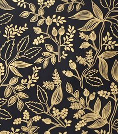This wallpaper by Rifle Paper Co (black with metallic gold) Queen Anne Ebony