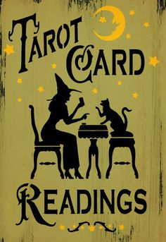 Tarot Card Readings Cute Cat and Witch Halloween Tavern style Holidays Halloween, Halloween Crafts, Halloween Decorations, Halloween Witches, Happy Halloween, Witch Decor, Witch Art, Witch Signs, Distressed Signs
