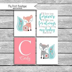 Digital FIles ONLY Custom Name Nursery Art - Coordinates Levtex Baby Fiona Crib Bedding Set Of FOUR 8x10s I'll Like You Forever by MyPrintBoutique on Etsy