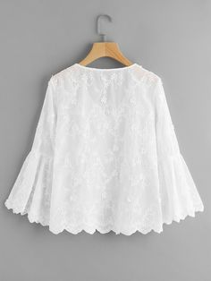 Material: Polyester Color: White Pattern Type: Plain, Embroidered Collar: V Neck Style: Cute, Elegant Type: Tunic D Frock Fashion, Hijab Fashion, Fashion Dresses, Blouse Styles, Blouse Designs, Bluse Outfit, Hijab Stile, Sewing Blouses, Dress Patterns