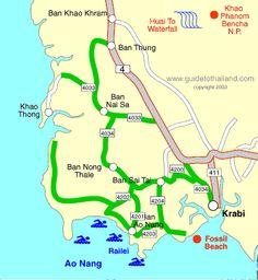 Map of Krabi town KrabiThailand Pinterest Krabi Krabi town
