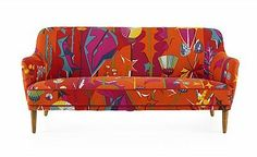 """the furniture is dressed up in """"Thistles, red"""", designed by Dagmar Lodén 1949 for """"Jobs"""" 70s Furniture, Vintage Furniture, Divan Sofa, Retro Design, Graphic Design, Lounge Sofa, Interior Inspiration, Cribs, Sofas"""