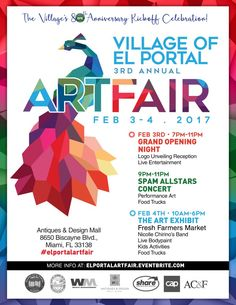 Bigger & Better: El Portal's 3rd Annual Art Fair - Mark your calendar for February 3rd & 4th to celebrate the Village of El Portal's biggest annual art fair that kicks off their 80th Anniversary Celebration!  Out with the old in with the new - El Portal's …