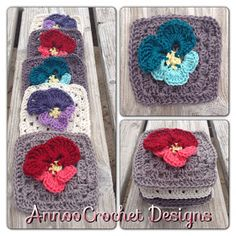 Annoo's Crochet World: Spring Pansy Flower Granny Free Pattern