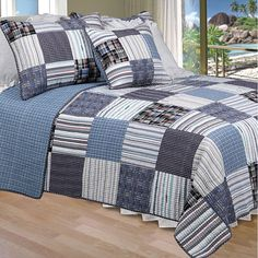 Patches of striped and plaid material are put together into a beautiful quilt set. Its blue hues and patchwork pattern give the bedding country charm. Its soft cotton material is lightweight enough to be used throughout the year.