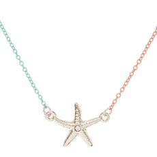 Coral and Mint Chain Starfish Pendant Necklace