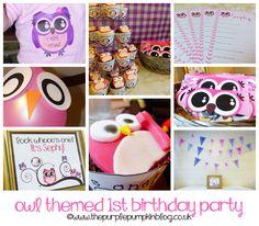 Ideas for an #owl themed 1st Birthday party