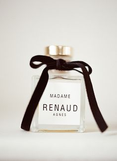 Chanel esque perfume bottle favors / photo by @Christina Brosnan