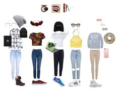 """School outfits"" by lexter3000 ❤ liked on Polyvore featuring Hollister Co., Rails, Alice + Olivia, RE/DONE, Vineyard Vines, Topshop, Converse, 7 For All Mankind, adidas and Glamorous"
