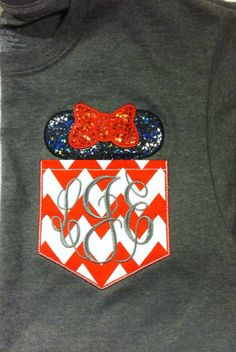 Short Sleeve Chevron Pocket tee Mickey or Minnie -great for Disney trips- family shirts available on Etsy, $23.00