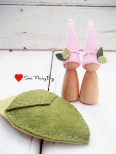 Wooden Peg Dolls Pink Sister Pixies by SockMonkeyBizz on Etsy, $10.50
