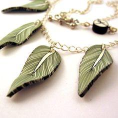 Feather Necklace in Green and Black Polymer Clay on Silver Chain #013
