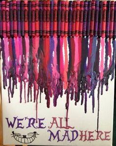 19 Ideas melted crayon art diy silhouettes canvases for 2019 Disney Diy, Disney Crafts, Crayon Canvas, Canvas Art, Cute Crafts, Crafts To Do, Kids Crafts, Alice In Wonderland Crafts, Alice In Wonderland Bedroom