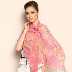 Pink Long 100% Mulberry Silk Scarf