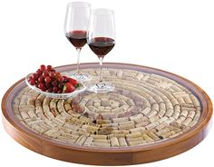 Wine Enthusiast DIY Wine Cork Lazy Susan Kit. #Diycraftsandsummerprojects #Diywinecorkkit www.search4freebies.com