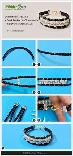 Instructions on Making a Black Leather Cord Bracelet with White Pearls and Rhinestones