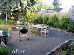 """Maybe this is all I need to do for my back """"paver"""" patio idea. Much easier to lay little pebbles."""