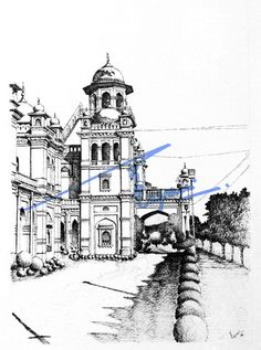 Islamia College, Peshawar.  Pen and ink on pastel sheet, drawn with 0.1mm rapido.  By: Zehra Naqavi (Architect/artist)  Year: 1996