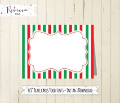 christmas place cards red food tents christmas food tents printable place cards printable red and green place cards holiday party red by RebeccaDesigns22