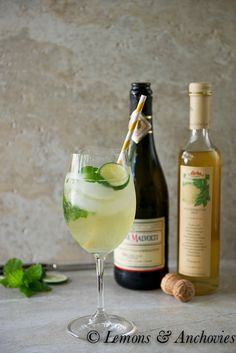 Hugo cocktail - combining Prosecco, limes, mint and elderflower syrup. Hugo is one of the most popular summer cocktails of Germany.