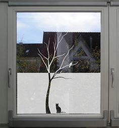 Window Decal, Glass decal, tree with a bird and a cat, Etched Glass Decal, Crystal Glass Decal