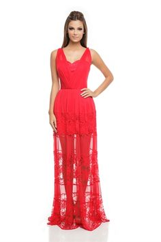 Vestido Longo Renda e Tule Vermelho Japonês - roupas-festas-vestido-longo-renda-e-tule-vermelho-japones Iorane